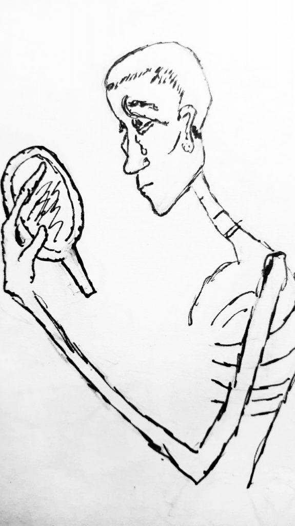 Desenho de mulher , cabeça raspada, lágrimas nos olhos, segurando  um espelho na mão, se olhando. Corpo esquelético e semblante triste