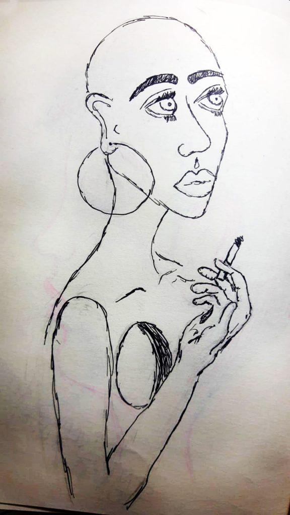 Desenho de mulher com brinco de argola , cabeça raspada, bastante magra, com cigarro na mão, semblante triste