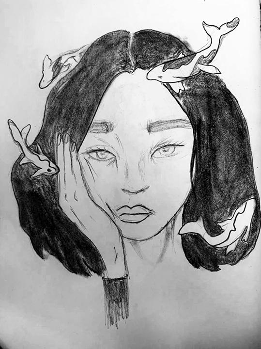 Desenho a lápis de uma mulher com o semblante neutro, cabelos pretos curtos, mão no rosto, ao redor da cabeça quatro baleias.