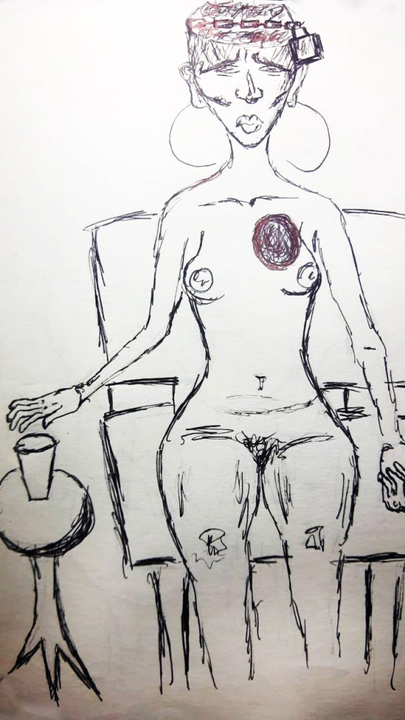 Desenho de mulher nua, sentada na cadeira, brincos grandes de argola, mão pegando um copo, semblante neutro olhando para frente